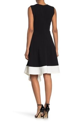 Calvin Klein ワンピース 関税送料込 Calvin Klein Colorblock Asymmetrical Hem Dress(3)