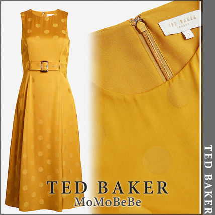 TED BAKER ワンピース 【国内発送・関税込】TED BAKER ドットサテンクレープドレス