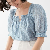 """""""& Other Stories"""" Square Neck Puff Sleeve Top Blue"""