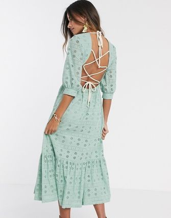 ASOS ワンピース 送関込●ASOS●broderie midi dress with rope lace up back(3)