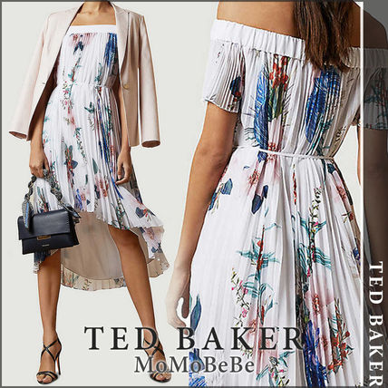 TED BAKER ワンピース 【国内発送・関税込】TED BAKER プリーツクレープミディドレス
