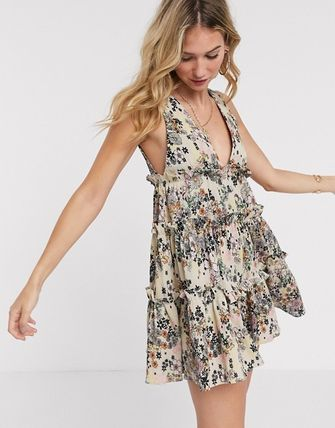 ASOS ワンピース 送関込●ASOS●button front tiered mini sundress