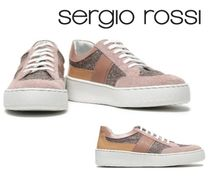 Sergio Rossi☆Glittered leather and suede sneakers