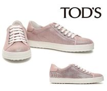 TOD'S☆Leather-trimmed glittered suede sneakers