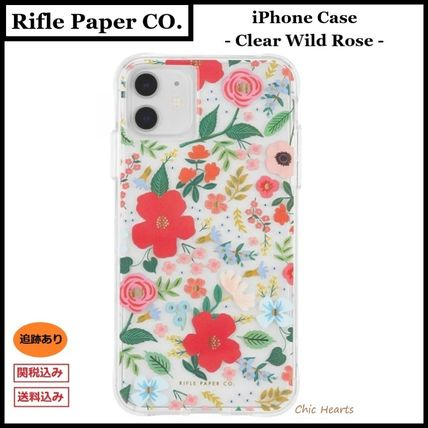 Rifle Paper.Co スマホケース・テックアクセサリー [追跡あり] Rifle Paper Co.★ iphone case - Clear Wild Rose