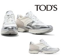 TOD'S☆Perforated canvas, metallic leather, suede & knit 靴