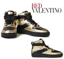 REDVALENTINO☆Glam Slam smooth & metallic leather sneakers