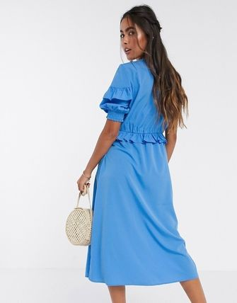 YAS ワンピース YASY.A.S midi dress with ruffle detail in blue(2)