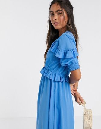 YAS ワンピース YASY.A.S midi dress with ruffle detail in blue(3)