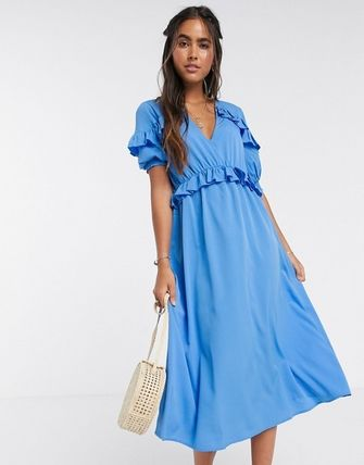 YAS ワンピース YASY.A.S midi dress with ruffle detail in blue(4)