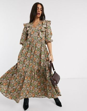 YAS ワンピース YASY.A.S maxi dress with ruffle detail in ditsy floral