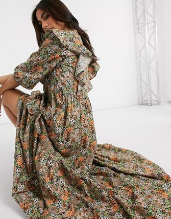 YAS ワンピース YASY.A.S maxi dress with ruffle detail in ditsy floral(3)