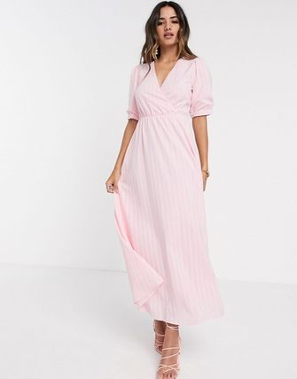 YAS ワンピース YASY.A.S textured wrap maxi dress in pink