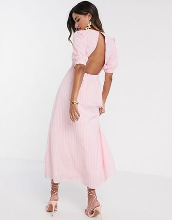 YAS ワンピース YASY.A.S textured wrap maxi dress in pink(2)