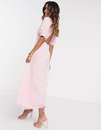 YAS ワンピース YASY.A.S textured wrap maxi dress in pink(4)
