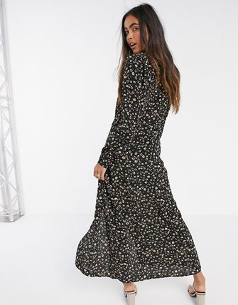 YAS ワンピース YASY.A.S button down maxi tea dress in ditsy floral(2)