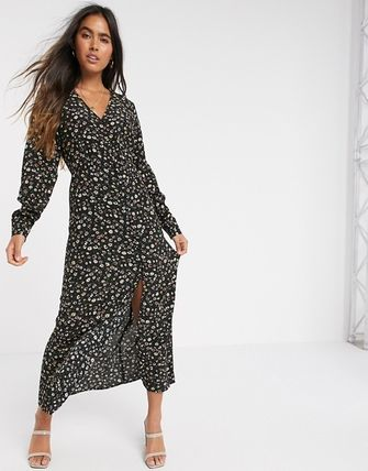YAS ワンピース YASY.A.S button down maxi tea dress in ditsy floral(4)