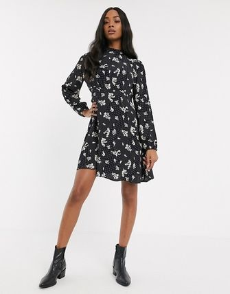 YAS ワンピース YASY.A.S high neck mini dress in mix print