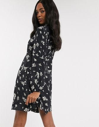 YAS ワンピース YASY.A.S high neck mini dress in mix print(2)