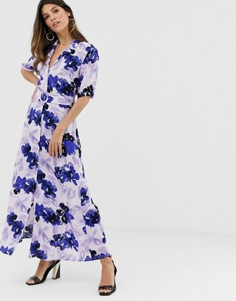 YAS ワンピース YASY.A.S floral shirt maxi dress