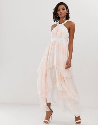 YAS ワンピース YASY.A.S floral tiered chiffon maxi dress