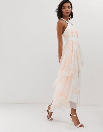 YAS ワンピース YASY.A.S floral tiered chiffon maxi dress(4)
