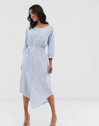 YAS ワンピース YASY.A.S crew neck chambray maxi shirt dress