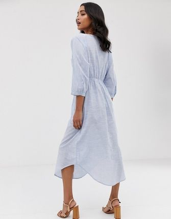 YAS ワンピース YASY.A.S crew neck chambray maxi shirt dress(2)