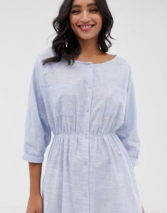 YAS ワンピース YASY.A.S crew neck chambray maxi shirt dress(3)