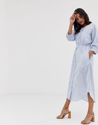 YAS ワンピース YASY.A.S crew neck chambray maxi shirt dress(4)
