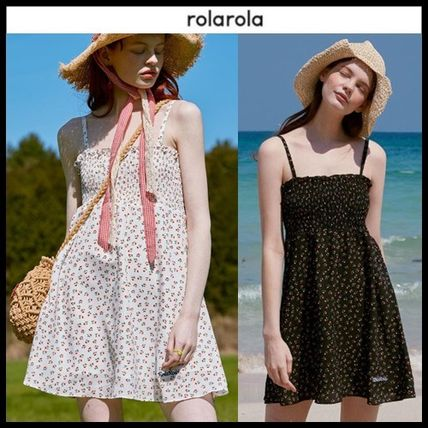 rolarola ワンピース ☆ROLAROLA☆ FLOWER SMOCKING SLEEVELESS ONE-PIECE