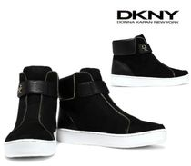 DONNA KARAN☆Tria leather-paneled suede high-top sneakers