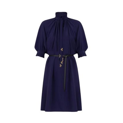 Louis Vuitton ワンピース 新作☆【LouisVuitton】LV ★ BELTED DRESS WITH PUFF SLEEVES(2)