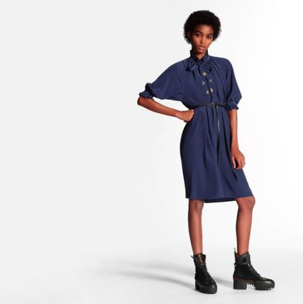 Louis Vuitton ワンピース 新作☆【LouisVuitton】LV ★ BELTED DRESS WITH PUFF SLEEVES(3)