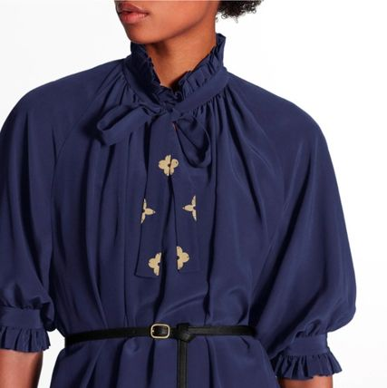 Louis Vuitton ワンピース 新作☆【LouisVuitton】LV ★ BELTED DRESS WITH PUFF SLEEVES(4)