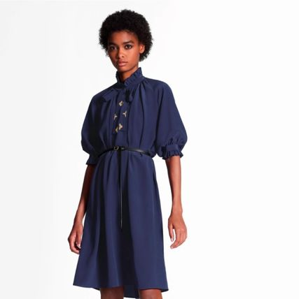 Louis Vuitton ワンピース 新作☆【LouisVuitton】LV ★ BELTED DRESS WITH PUFF SLEEVES(5)