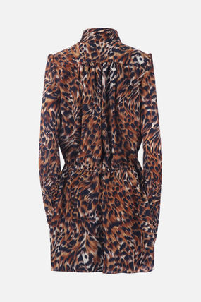 Saint Laurent ワンピース 【SAINT LAURENT】LEOPARD PRINT GEORGETTE SHORT DRESS(2)