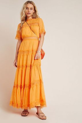 Anthropologie ワンピース 最安値保証*関送料込【Anthro】Cipriana Tiered Lace Maxi Dress(2)