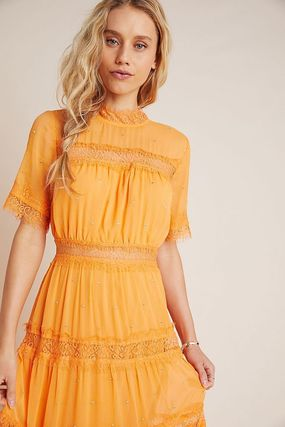 Anthropologie ワンピース 最安値保証*関送料込【Anthro】Cipriana Tiered Lace Maxi Dress(4)