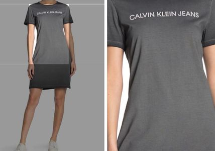 Calvin Klein ワンピース 関税送料込 Calvin Klein Short Sleeve Logo Print TShirt Dress(4)