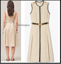 【Tory Burch】エレガントデザインLEATHER-TRIMMED LINEN DRESS