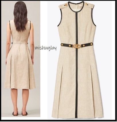 Tory Burch ワンピース 【Tory Burch】エレガントデザインLEATHER-TRIMMED LINEN DRESS