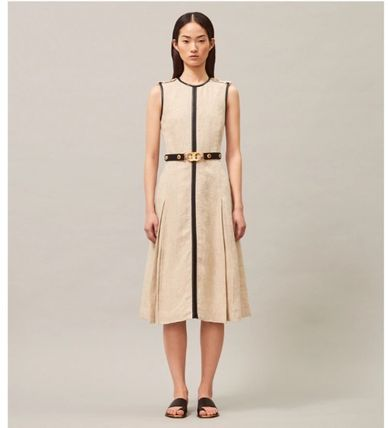 Tory Burch ワンピース 【Tory Burch】エレガントデザインLEATHER-TRIMMED LINEN DRESS(2)