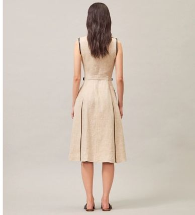 Tory Burch ワンピース 【Tory Burch】エレガントデザインLEATHER-TRIMMED LINEN DRESS(3)