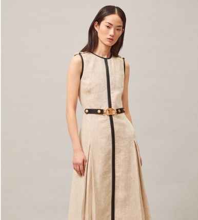 Tory Burch ワンピース 【Tory Burch】エレガントデザインLEATHER-TRIMMED LINEN DRESS(4)