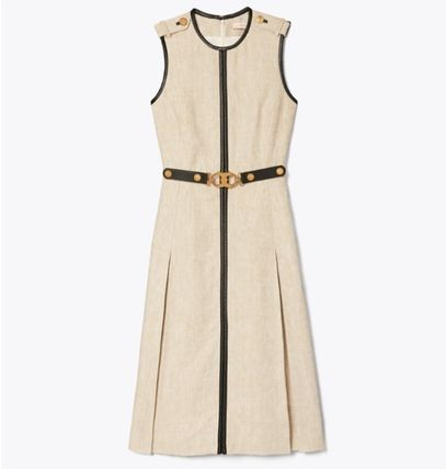 Tory Burch ワンピース 【Tory Burch】エレガントデザインLEATHER-TRIMMED LINEN DRESS(5)