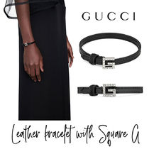 【GUCCI】Leather bracelet with Square G レザーブレスレット