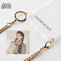 phonecklace★韓国★大人デザイン★Round Gold Chain Strap Case
