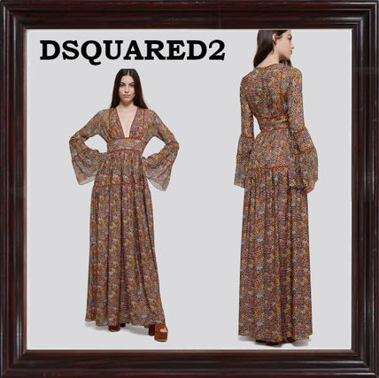 D SQUARED2 ワンピース ≪DSQUARED2≫ 新作! 花柄シルクワンピース ★送料関税込み