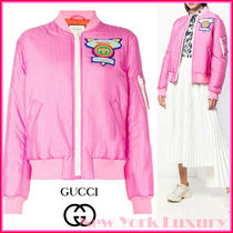 GUCCI★素敵!Appliqued satin shell bomber Jacket